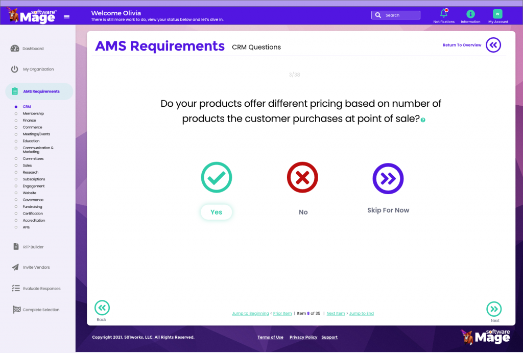 RFP Builder for AMS or CRM questions