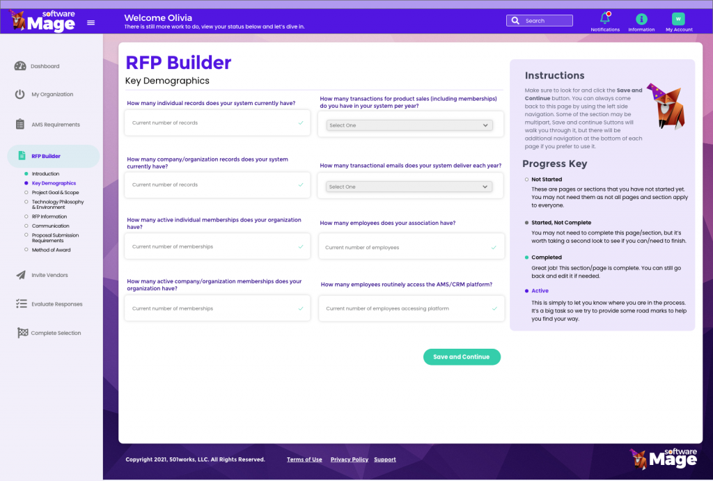 RFP Builder for AMS or CRM